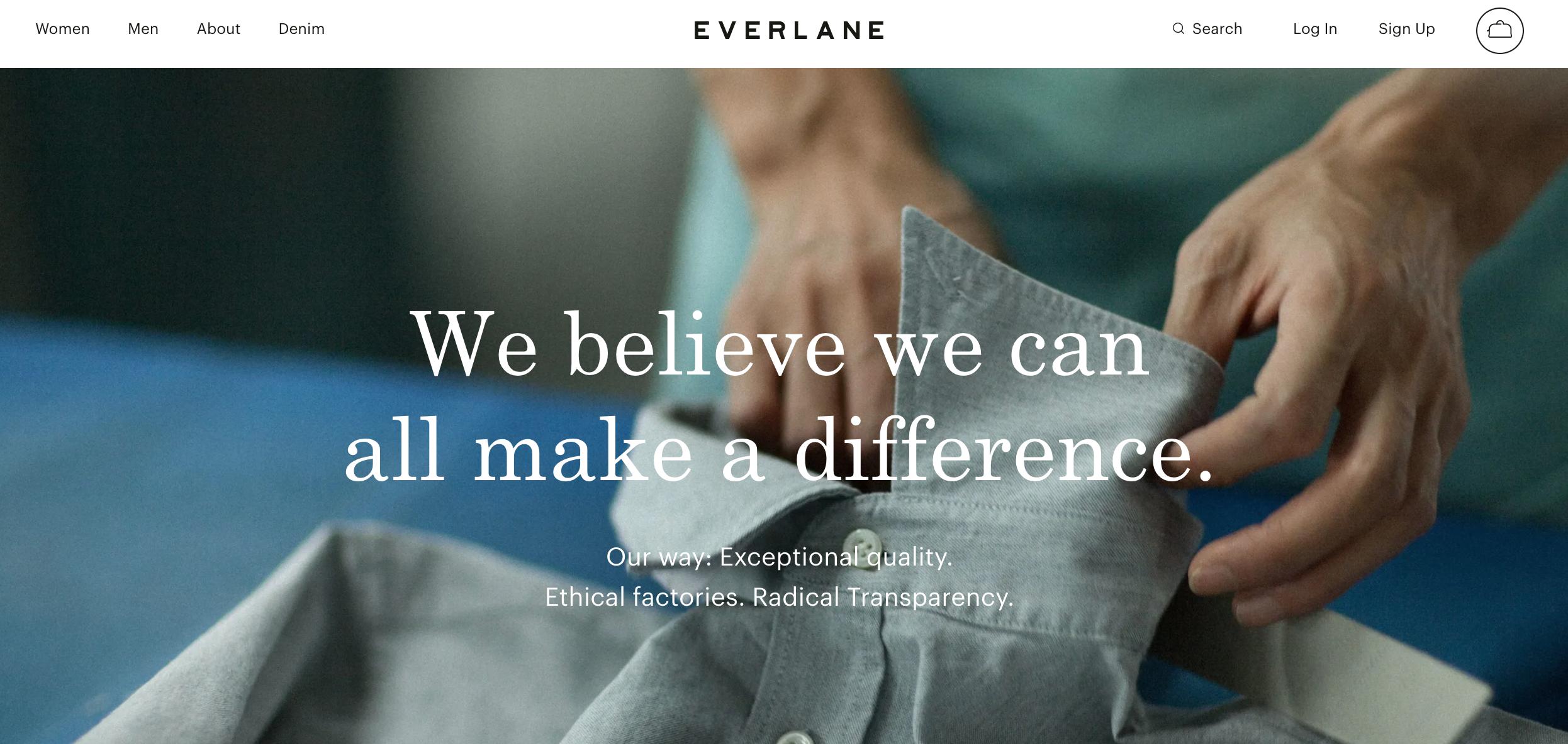 Personalidad de marca innovadora Everlane
